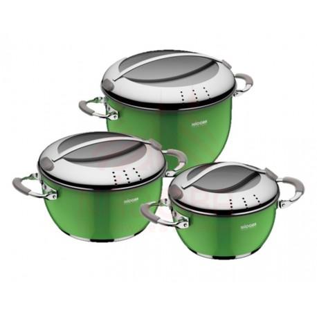 Набор кастрюль со стеклянными крышками KVETUNKA 6 предметов зеленый 727418