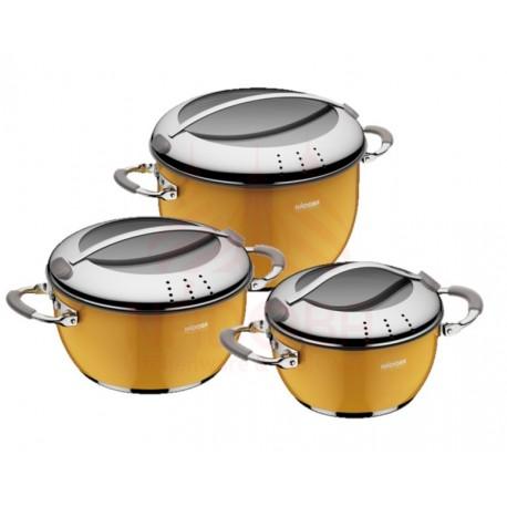 Набор кастрюль со стеклянными крышками KVETUNKA 6 предметов желтый 727318