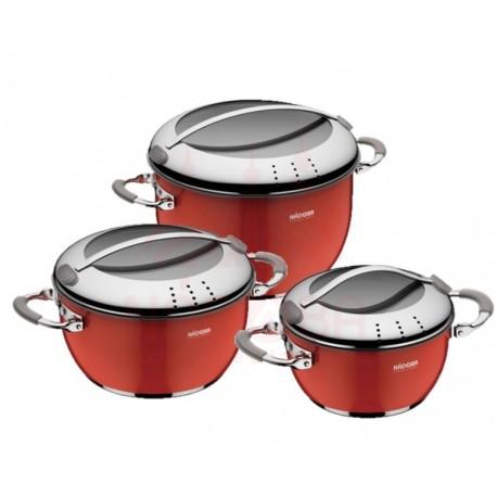 Набор кастрюль со стеклянными крышками KVETUNKA 6 предметов красный 727218