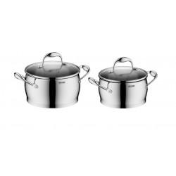 Набор посуды Nadoba Augusta со стеклянными крышками 4 пр. на 4 и 2,6 литра