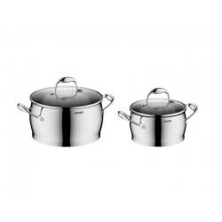 Набор посуды Nadoba Augusta со стеклянными крышками 4 пр. на 5,8 и 2,6 литра