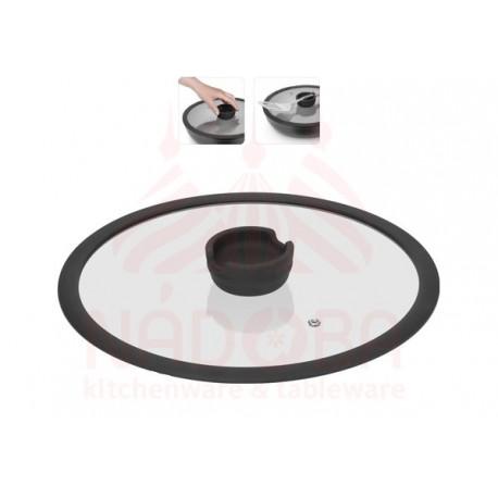 Стеклянная крышка с силиконовым ободом,28 см FINA