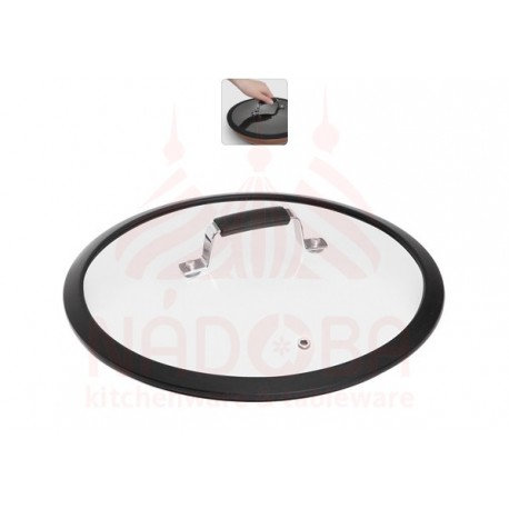Стеклянная крышка с силиконовым ободом,28 см LOTA