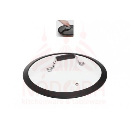 Стеклянная крышка с силиконовым ободом,24см LOTA