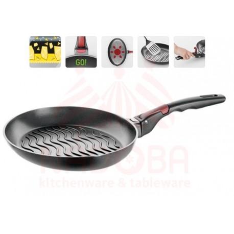 Сковорода для рыбы с антипригарным покрытием и съёмной ручкой, 34х23 см