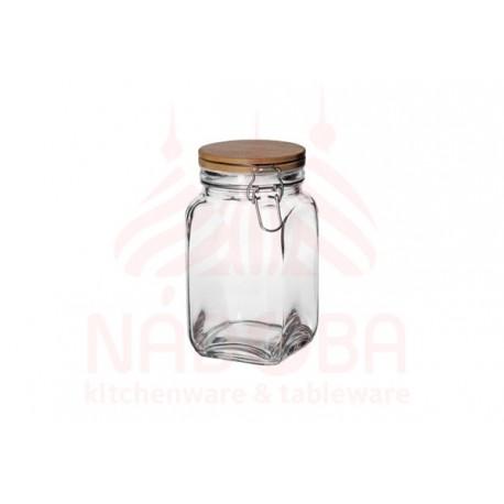 Ёмкость для сыпучих продуктов с крышкой из бамбука с замком NADOBA серии DASA 1.2 литра
