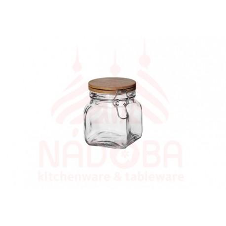 Ёмкость для сыпучих продуктов с крышкой из бамбука с замком NADOBA серии DASA 0,7 литра